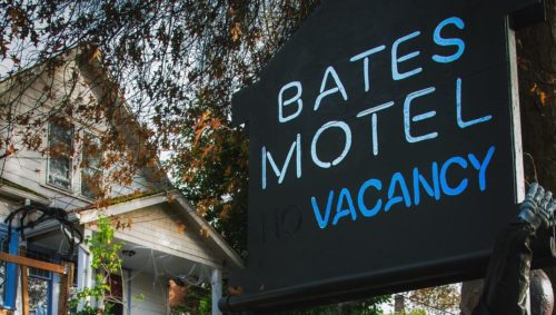 A photo of a house decorated to look like Bates Motel